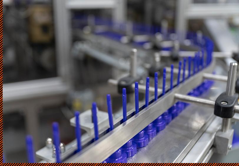 blue plastic parts in machine